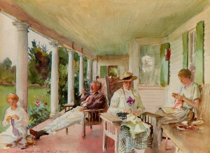 """On the Verandah (Ironbound Island, ME)"" by John Singer Sargent, 1921"