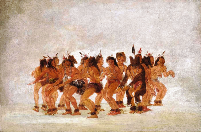 """Bear Dance, Preparing for a Bear Hunt"" by George Catlin, oil on canvas, 1835-1837"