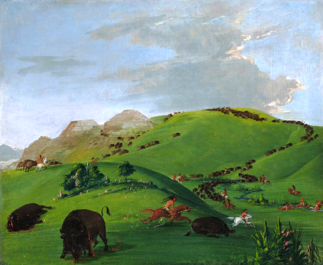 """Buffalo Chase, Mouth of the Yellowstone"" by George Catlin, oil on canvas, 1832-1833"