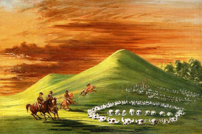 """Butte de Mort, Sioux Burial Ground, Upper Missouri"" by George Catlin, oil on canvas, 1837-1838"