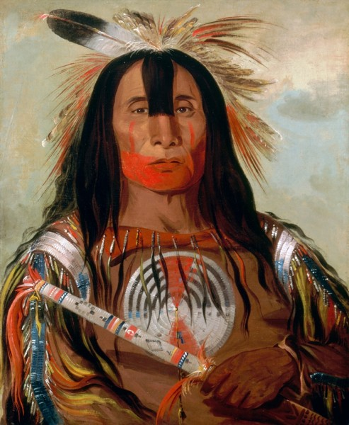 """Stu-mick-o-súcks, Buffalo Bull's Back Fat, Head Chief, Blood Tribe"" by George Carlin, oil on canvas, 1832"