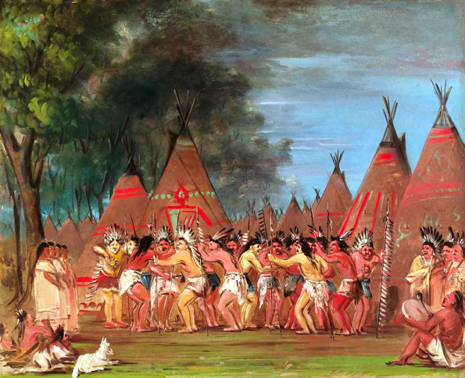 """Dance of the Chiefs, Mouth of the Teton River"" by George Catlin, oil on canvas, 1832-1833"