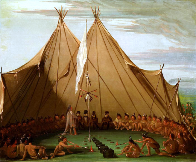"""Sioux Dog Feast"" by George Catlin, oil on canvas, 1832-1837"