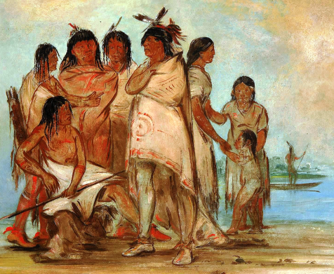 """Du-cór-re-a, Chief of the Tribe, and His Family"" by George Catlin, oil on canvas, circa 1830"