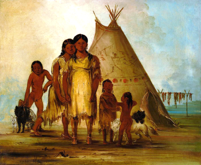 """Two Comanche Girls"" by George Catlin, oil on canvas, 1834"