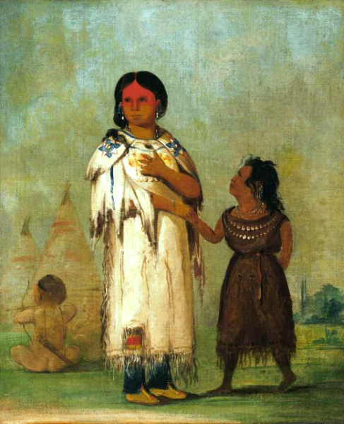 """Assiniboin Woman and Child"" by George Catlin, oil on canvas, 1832"
