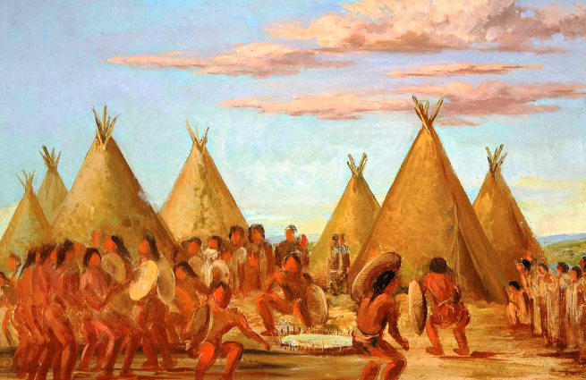 """Smoking the Shield"" by George Catlin, oil on canvas, 1837-1839"