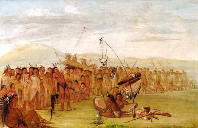 """Self-torture in a Sioux Religious Ceremony"" by George Catlin, oil on canvas, 1835-1837"