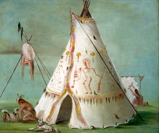 """Crow Lodge of Twenty-five Buffalo Skins"" by George Catlin, oil on canvas, 1832–1833"