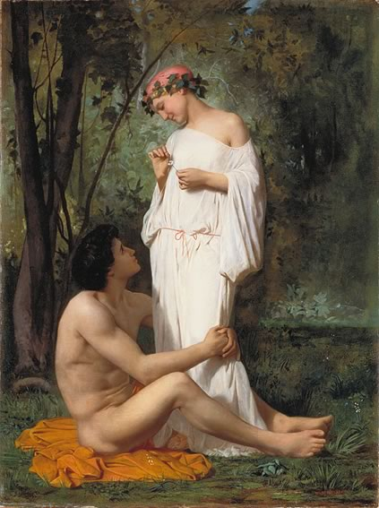 """Idylle"" by William-Adolphe Bouguereau, oil on canvas, 1853"