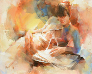 """Reading"" by Willem Haenraets, original artwork"
