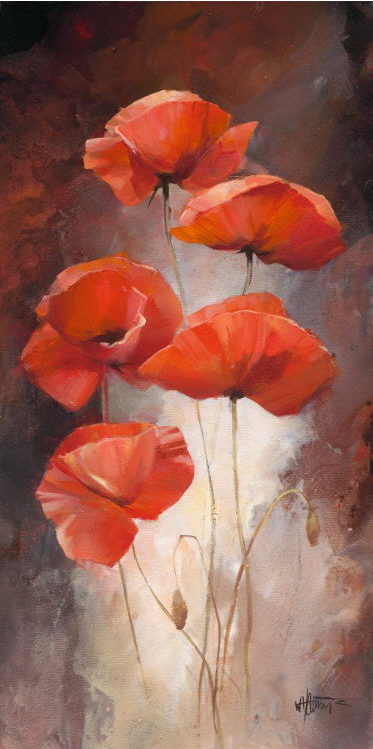 """Different Poppies I"" by Willem Haenraets, acrylic on canvas, 2009"