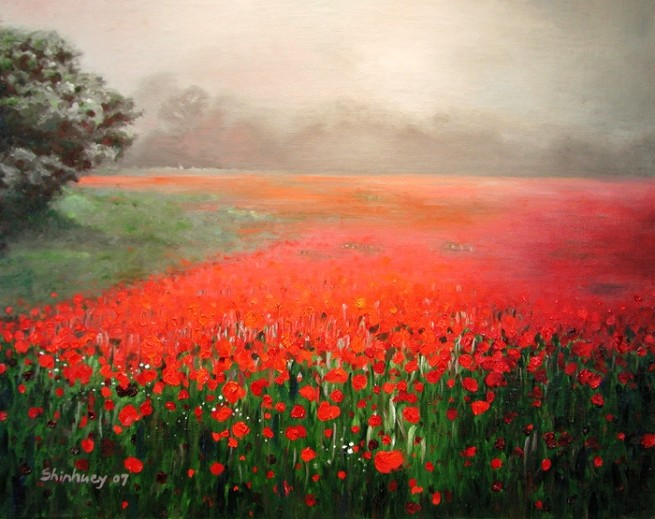 """Poppy Field in the Fog"" by Sherry Shinhuey Ho, Oil on linen, 2007"