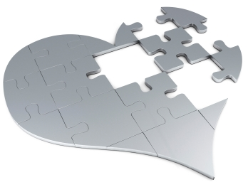 heart puzzle with missing pieces