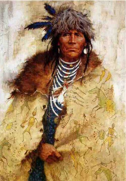 """Talking Robe"" by Howard Terpning, limited edition print on page, 1995"