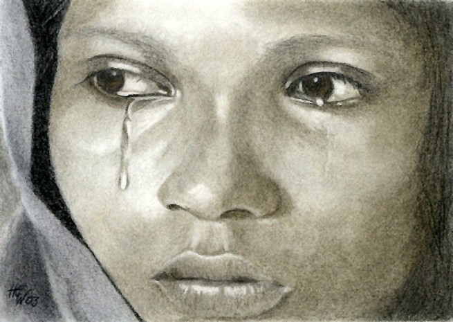 """""""Tears"""" by Hilly Wakeford, original pencil drawing, 2003"""