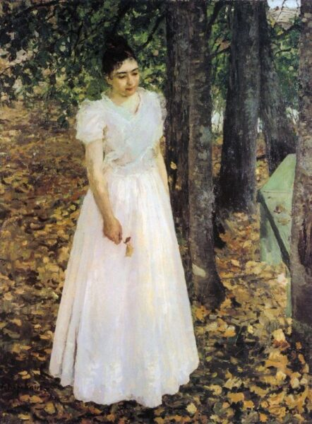 """Young Woman in a Garden"" by Konstantin Korovin, oil, 1891"