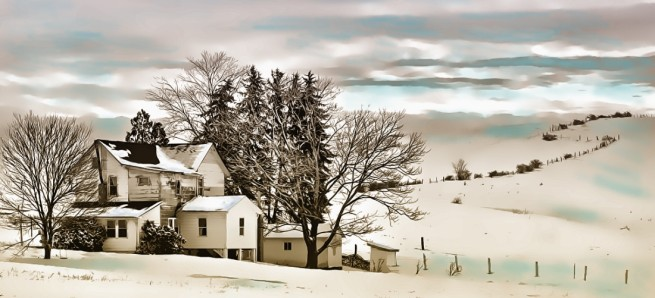 """Amish Farm in Winter"" by Tom Schmidt, watercolor, 2010"