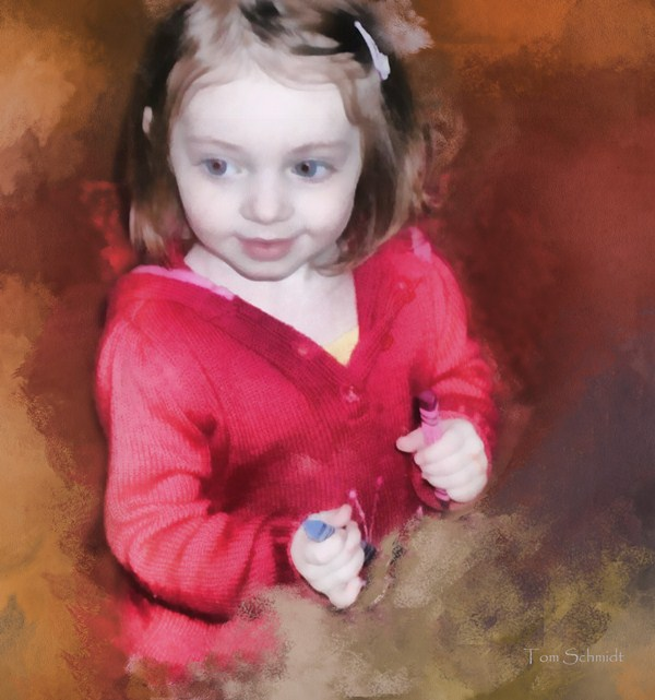 """Clare with Crayons"" by Tom Schmidt, watercolor, 2010"