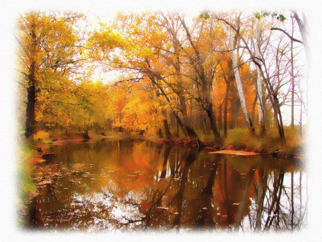 """Fall at Riverbend"" by Tom Schmidt, watercolor, 2010"