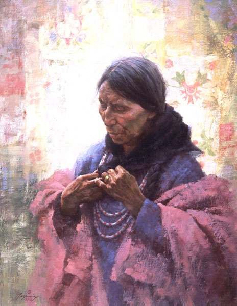 """Cree Finery"" by Howard Terpning, original painting on paper, May 1990"