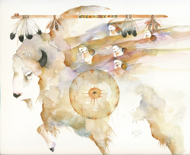 """Sacred Buffalo"" by Gretchen Del Rio, original watercolor, 2013"