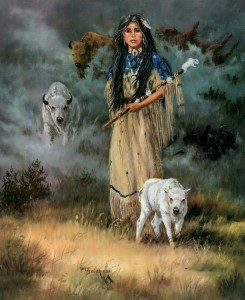 """White Buffalo Calf Woman"" by Mary Selfridge, signed giclée print"