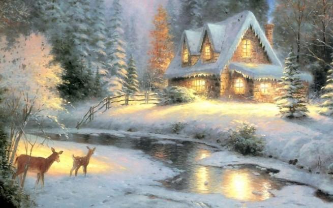 """Deer Creek Cottage"" by Thomas Kincaid, oil on canvas"